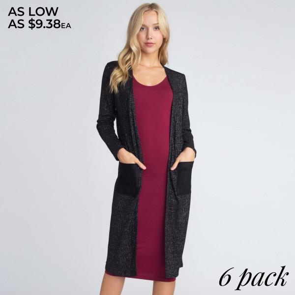 This duster cardigan adds the perfect finishing touch for any #ootd! Subtle rib knit adds ultra chic texture while silver lurex threads make this cardigan shimmer and shine. Layer over your favorite bodycon dress and complete with booties for an evening out look!   • Long Sleeves  • Open Front  • Elbow Suede Patch  • Two Suede Open Side Pockets, Keeps Loose Items At Hand  • Silver Lurex Threads Create a Shimmer Effect  • Rib Knit Texture  • Longline Hem  • Soft  • Stretchy  • Imported   Composition: 80% Polyester, 17% Lurex, 3% Spandex   Pack Breakdown: 6pcs/pack. 2S: 2M: 2L