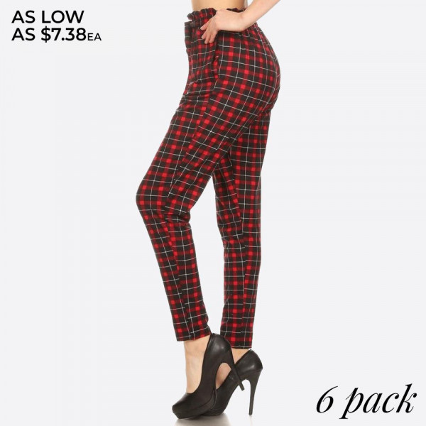 RED, BLACK PLAID PRINT, SEMI HAREM LOOSE FIT PANTS WITH POCKETS ON SIDES, A FRONT SELF TIE, AND RUFFLED PAPER BAG WAIST.   SIZE:S-M-L-XL(1-2-2-1) PACKAGE:6PCS/PREPACK 92%POLYESTER  8%SPANDEX