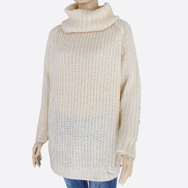 Gorgeous knit sweater with loose fitting turtle neck. This sweater is sure to keep you warm in your everyday activities. 55% acrylic and 45% cotton. One size fits most.