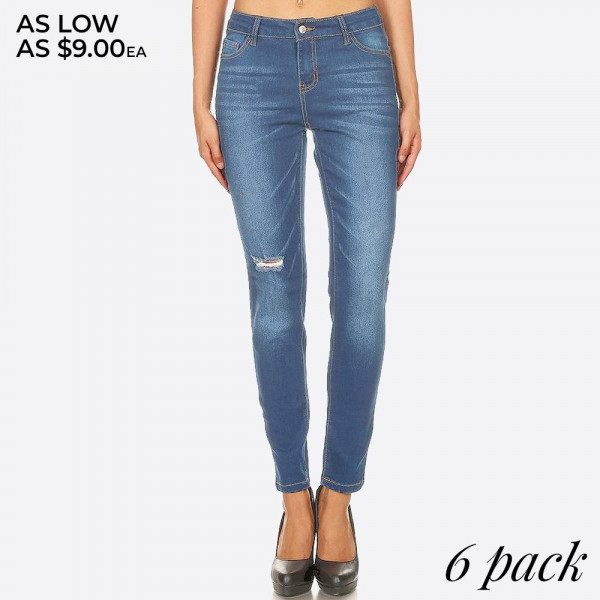 Distressed medium wash skinny jean jeggings with button and zipper.  - Body shaping silhouette - Classic jean closure style   Composition:  Pack Breakdown: 6pcs/pack. 2S: 2M: 2L