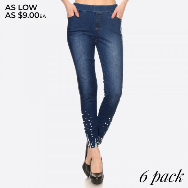 Distressed dark wash pull-on skinny denim jeggings with pearl details at ankles.  - Body shaping silhouette - Pull up style   Composition:  Pack Breakdown: 6pcs/pack. 2S: 2M: 2L
