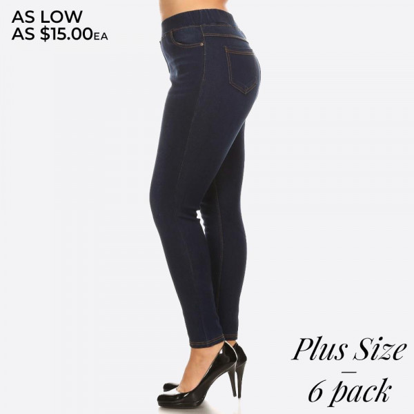 Plus size fur-lined jeggings in dark blue denim wash.  These jeggings are styled to resemble a pair of jeans. Get both comfort and style!   - Super stretchy  - Pull up style   Composition:  Pack Breakdown: 6pcs/pack. 2 1XL, 2 2XL, 2 3XL