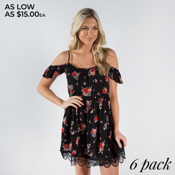 Tank top floral dress.  100% Rayon  Comes in a six back.  Sizes 2S/2M/2L