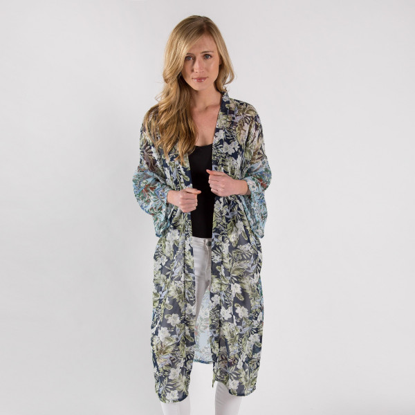 """Navy blue floral printed kimono with waist tie closure. Measures approximately 45"""" in length. One size fits most 0-14. 100% polyester."""