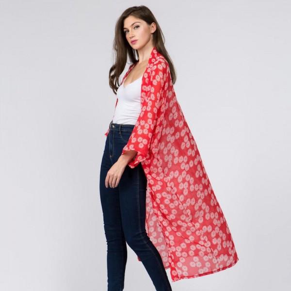 Light weight floral kimono. 100% polyester.