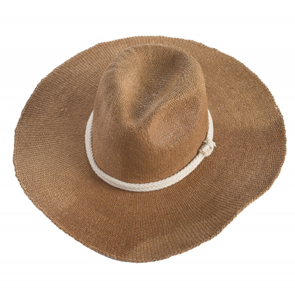 "Brown boho wide brim Panama. Approximate 12"" in length. One size. 100% paper exclusive of decorations."