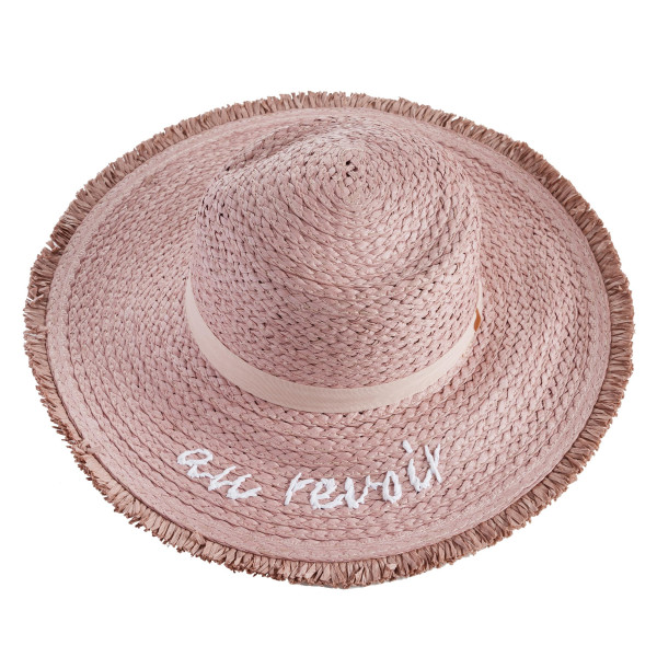 "Mauve wide-brim floppy sun hat with pink ribbon. Brim measures approximately 4"" in width and 15"" in total diameter. One size fits most. 100% paper."