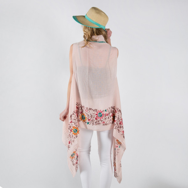 Vest with floral embroidery.