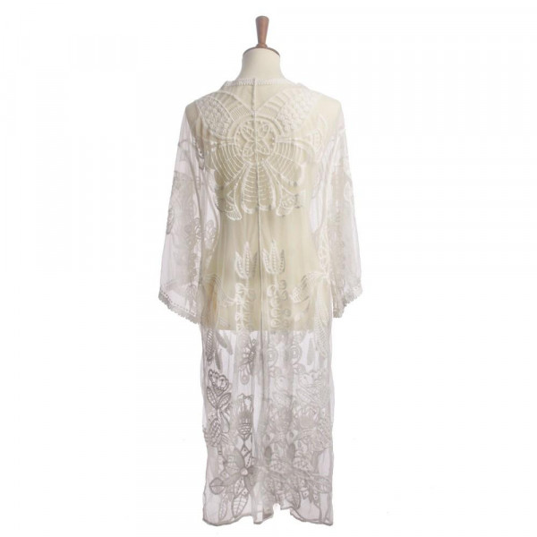 """Lightweight lace kimono featuring a floral print with butterfly details and a waist tie closure. Approximately 41"""" in length.   One size fits most 0-14.  Composition: 50% Cotton 50% Polyester."""