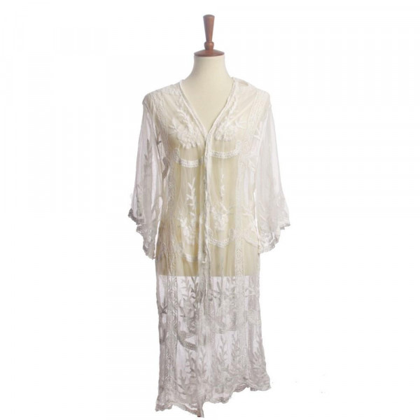 """Lightweight lace kimono featuring a floral print with a wait tie closure. Approximately 41"""" in length.   One size fits most 0-14.  Composition: 50% Cotton 50% Polyester."""