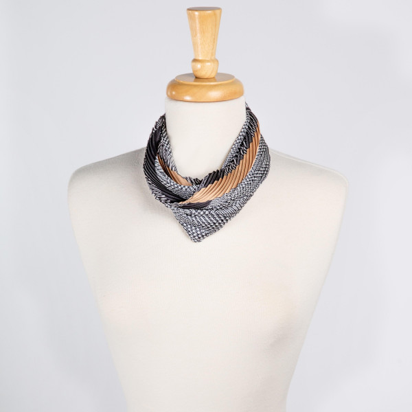 "Light weight multi-striped scarf. Denimson: 27 1/2"" x 27 1/2""  100% POLYESTER"