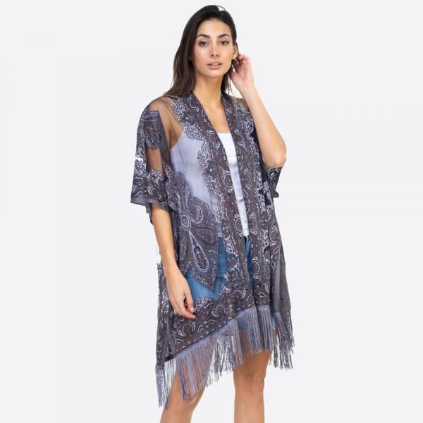 "Mandala sheer kimono. 39""X29""  60% POLYESTER 40% VISCOSE"