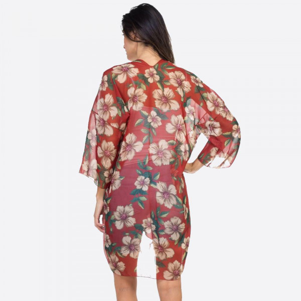 Lightweight kimono with hibiscus print. 