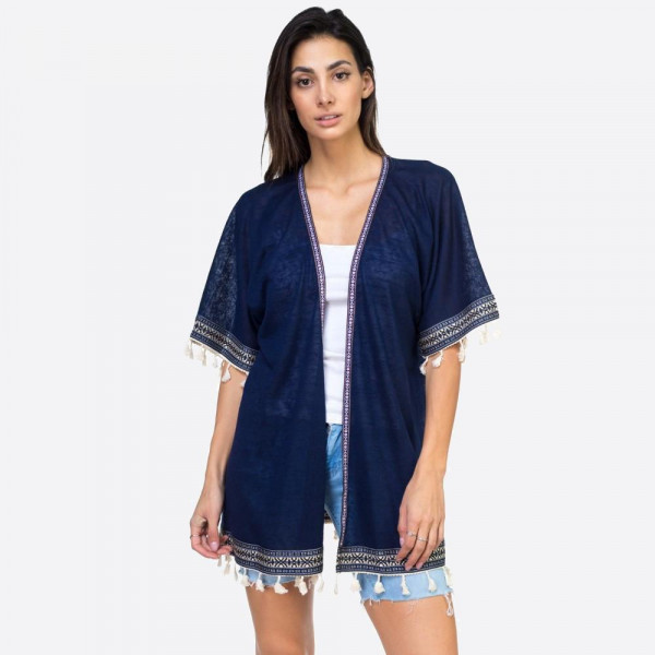 "Navy woven tape and tassel trimmed kimono.  24 3/4""X30 1/4"" 100% POLYESTER"