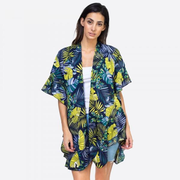 "Tropical leaves ruffle kimono.  37""X33"" 100% POLYESTER"