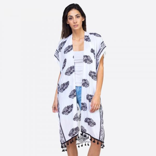 "Vintage pattern tassel kimono.  35""X39"" 100% VISCOSE"