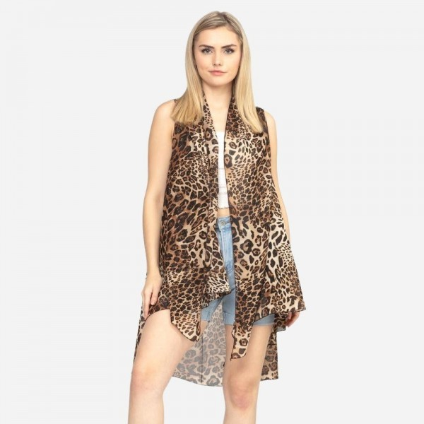 "Women's lightweight multi mix animal print kimono vest.   - One size fits most 0-14 - Approximately 37"" L - 100% Polyester"
