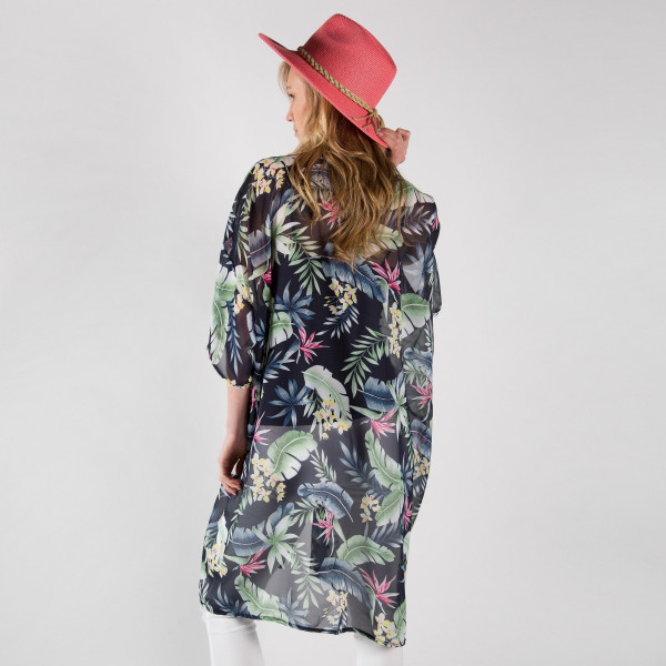 Tropical print chiffon kimono. 100% polyester.