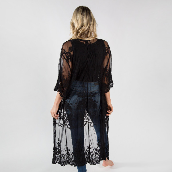 """Lightweight black lace kimono with waist tie. One size fits most 0-14. 50% cotton 50% polyester.  40"""" in length."""
