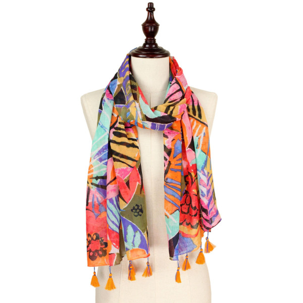 """Tropical print scarf with tassel. Approximate 74"""" L X 40"""" W. 100% Cotton."""