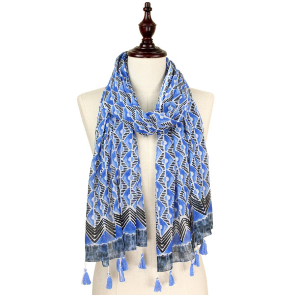"Print scarf with tassel. Approximate 74"" L X 40"" W. 100% Cotton."