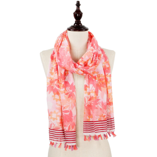 Flower and leaf scarf with tassel. 100% Polyester.