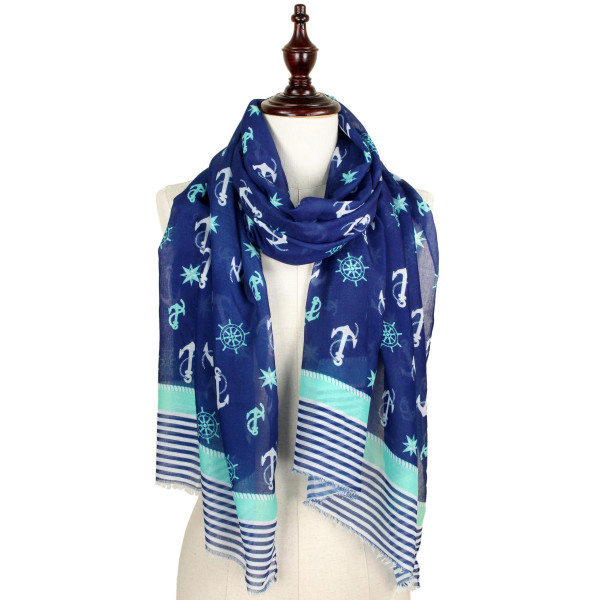 Nautical print scarf. 100% Polyester.