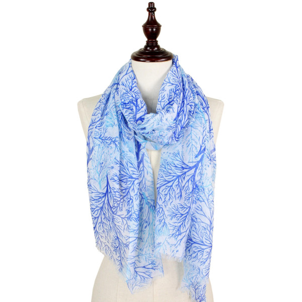 Coral print scarf. 100% polyester.
