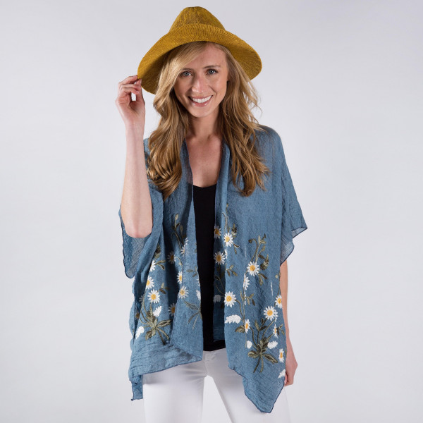 Lightweight embroidered flower kimono. 20% cotton, 80% polyester. One size fits most 0-14.
