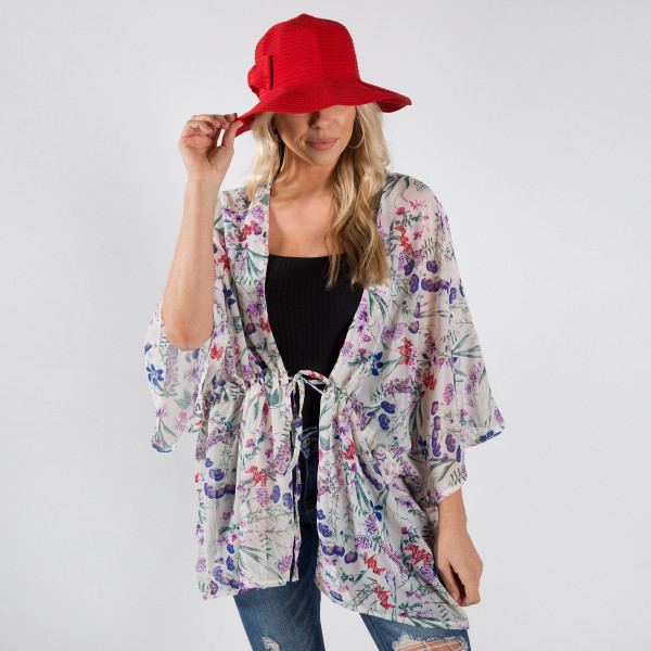 Light weight kimono with floral print. 100% polyester.
