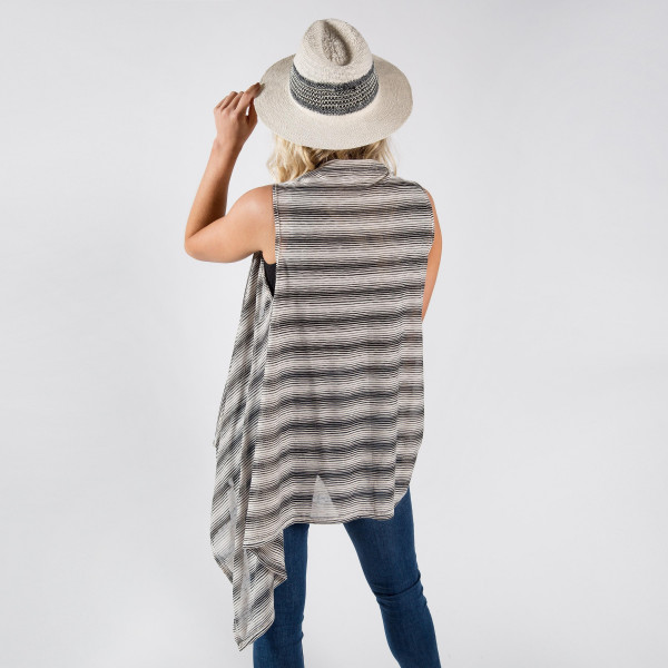 Light weight stripe jersey vest. 100% polyester.