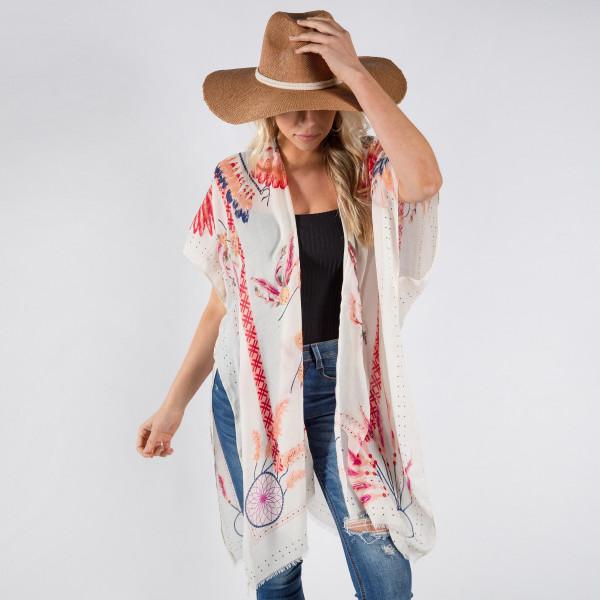 Dream catcher foil print kimono. 100% polyester.