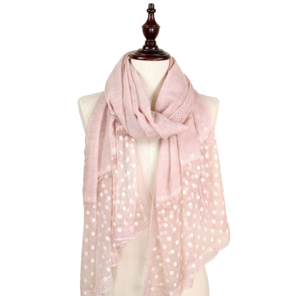 Polka dot lace scarf. 100% polyester.