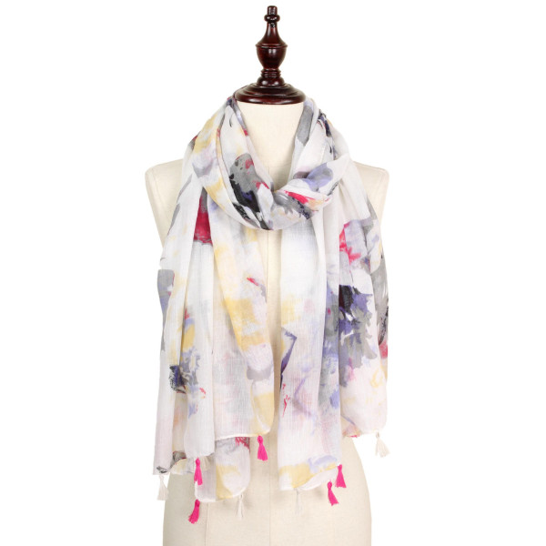 Flower spring scarf with tassel. 100% polyester.