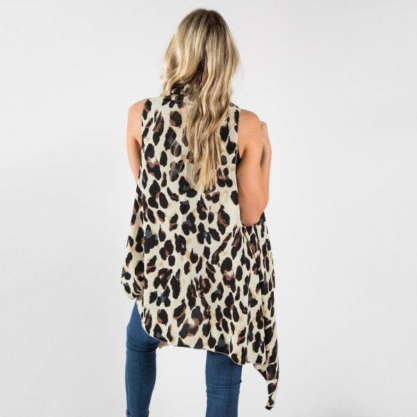 """Leopard print vest/cover up.  100% Polyester.  One size fits most.  37.5"""" in length."""