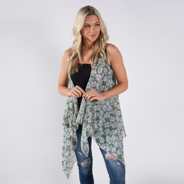 Flower print chiffon vest/cover-up. One size fits most 0-14. 100% polyester.