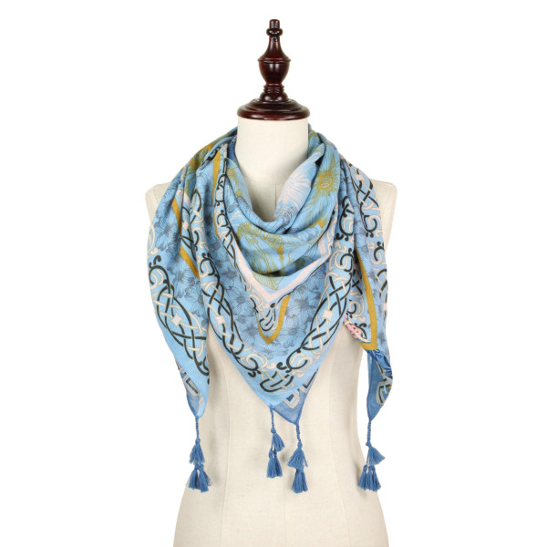 Flower print square scarf. 100% polyester.