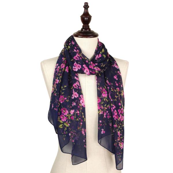 Flower chiffon scarf. 100% polyester.