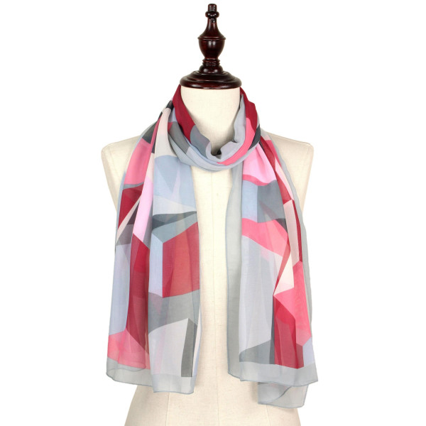 Abstract chiffon scarf. 100% polyester.
