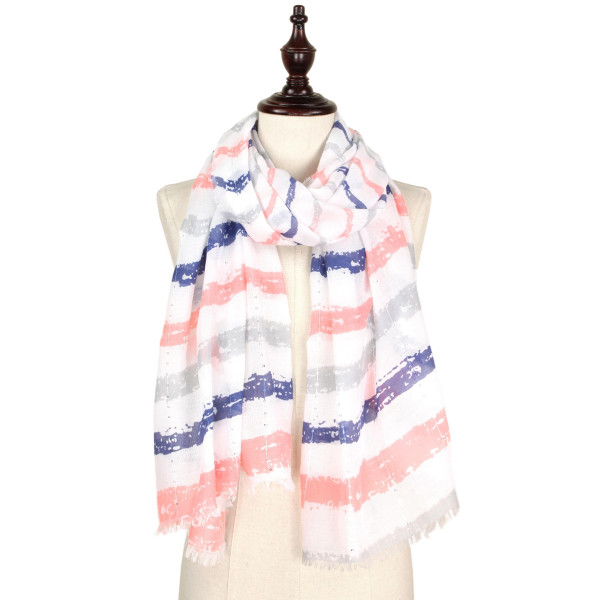 Brush stroke sequins decor scarf. 100% polyester.