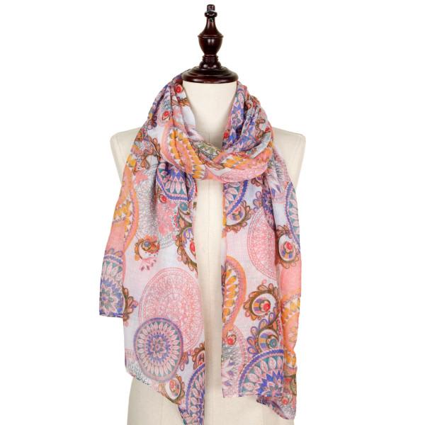 Mandala print scarf. 100% polyester.