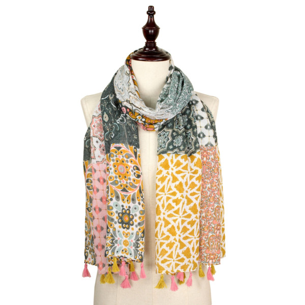 Flower print scarf with tassel. 100% polyester