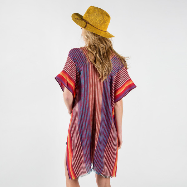 Colorful striped print kaftan 100% polyester. Fits most 0-14.