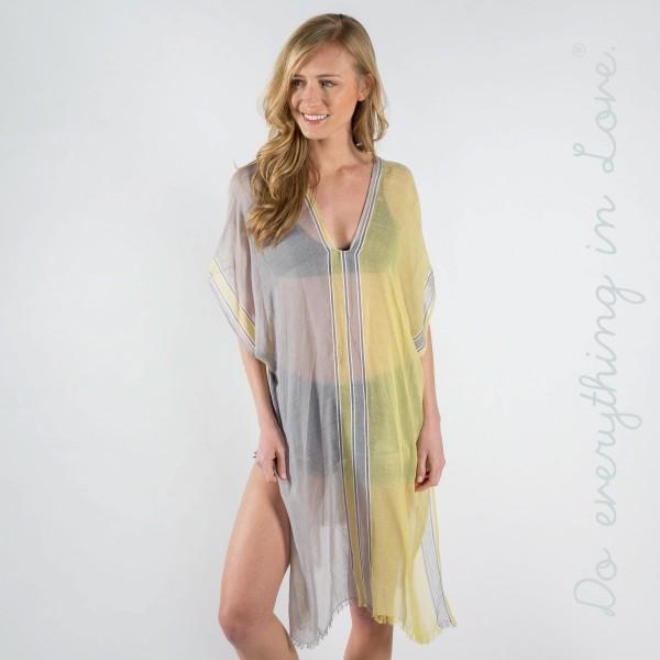 Dual color bordered kaftan. 100% polyester.