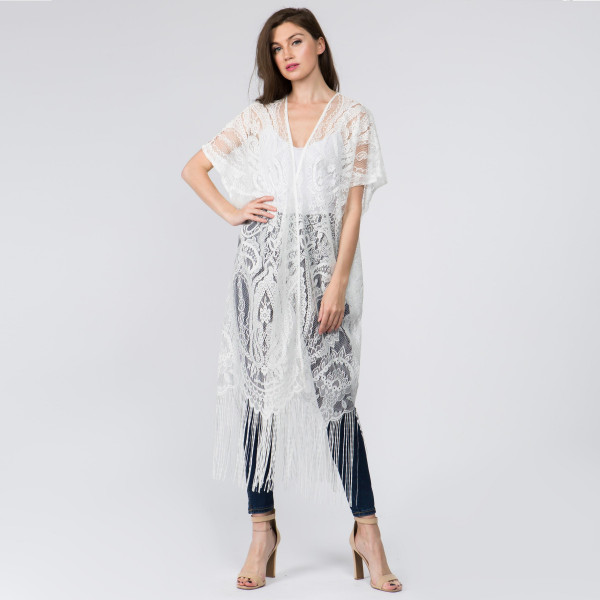 18d8586ca2 Wholesale long light weight see through kimono beach cover up fringes  polyester