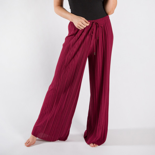 "Long palazzo pants with adjustable waist string. One size fits most 0-14  26"" inseam.   92% Polyester 8% Spandex"