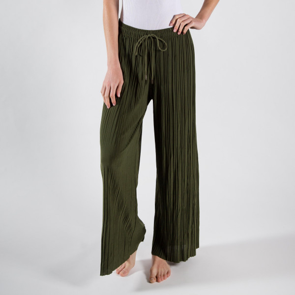 """Long palazzo pants with adjustable waist string. One size fits most 0-14  26"""" inseam.   92% Polyester 8% Spandex"""