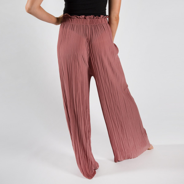 Long palazzo pants with strips and adjustable waist string. One size fit most.  92% Polyester 8% Spandex