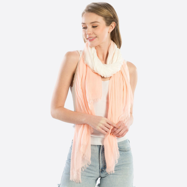"Lightweight pink hombre scarf. Measures approximately 40"" x 74"" in length. 100% Modal."