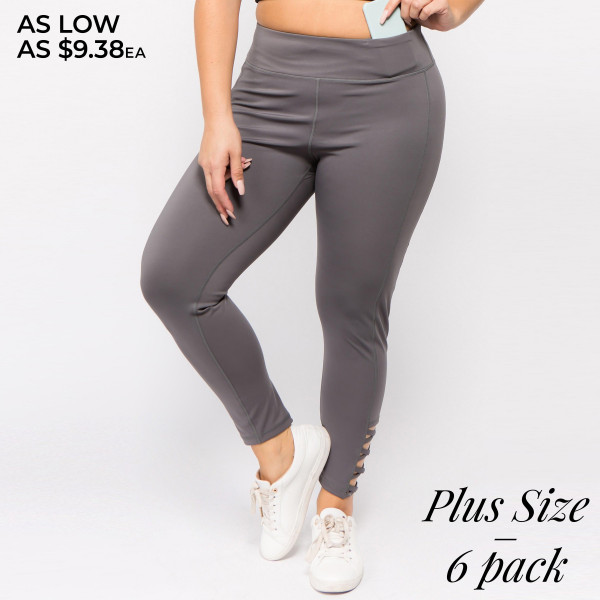 The perfect look for your next pilates class, these easy to pull-on active leggings feature eye-catching criss cross ankle detail and an all-over supportive fit. Wear these leggings for your daily morning run or low-key days relaxing at home!   • Reinforced, elastic waistband  • High rise style  • High quality comfort and stretch fabric  • Smoothing seams offer no chaffing along legs/triangle crotch gusset  • Sweat wick fibers draw sweat off your skin for a cool wear  • Lightweight  • Imported   Composition:   Pack Breakdown: 6pcs/pack. 3XL: 2XXL: 1XXXL